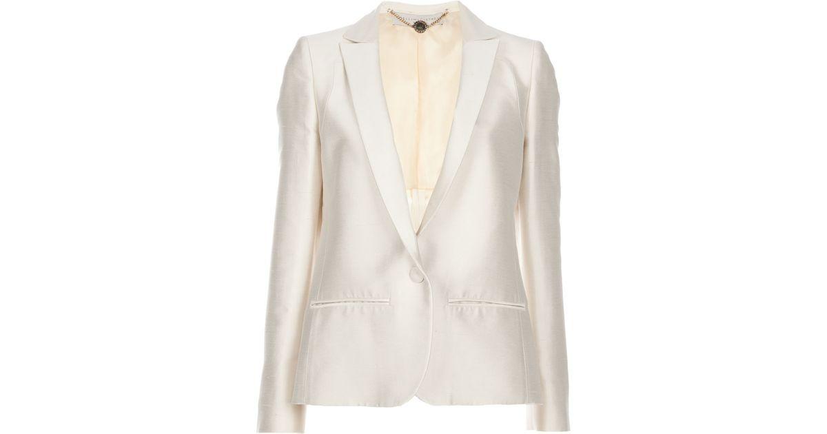 8d8804ad5f6 Stella McCartney Silk Blazer in Natural - Lyst