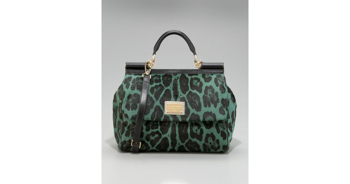 87d9a565e135 Lyst - Dolce   Gabbana Miss Sicily Leopard-print Satchel in Green