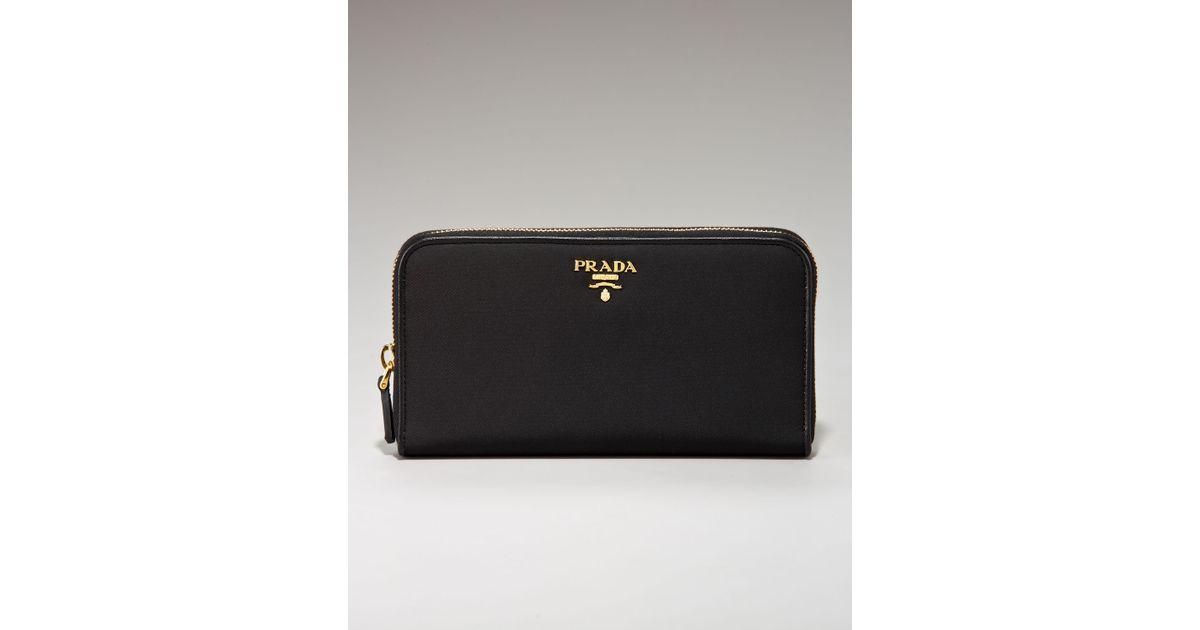99a4896eceee Prada Tessuto and Saffiano Zip-around Wallet in Black - Lyst
