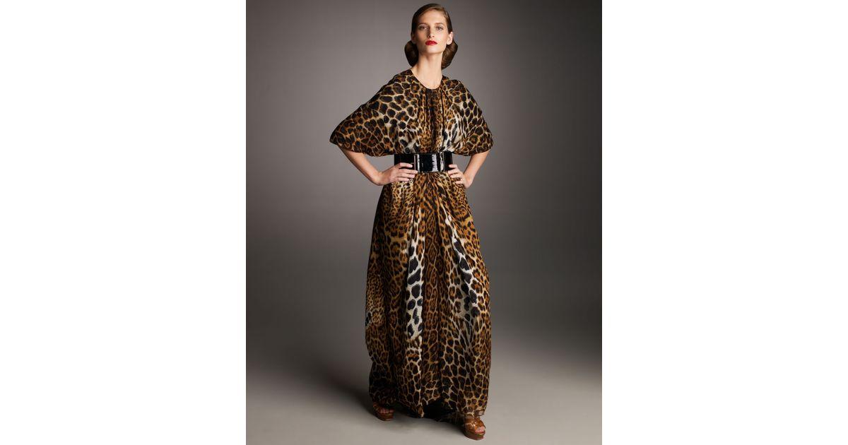 ce9675de3 Saint Laurent Leopard-print Caftan - Lyst
