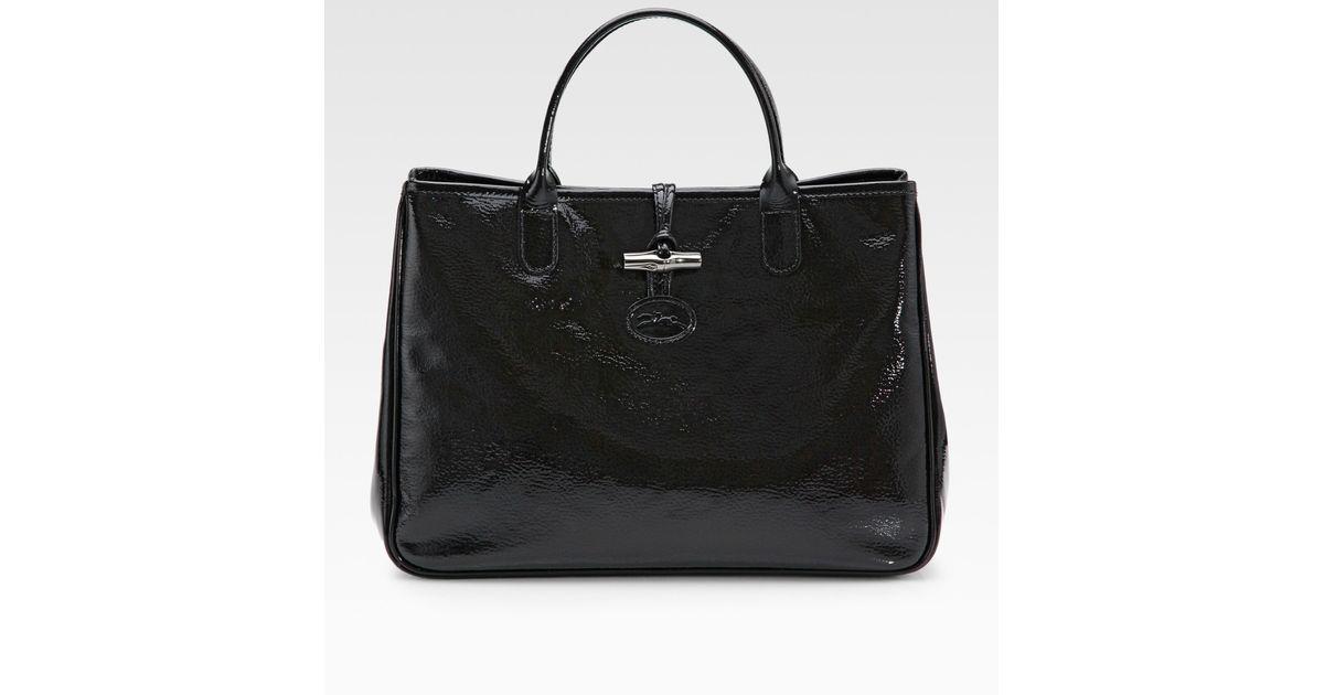 Lyst - Longchamp Roseau Vernis Patent Leather Tote Bag in Black 62e368a89adf6