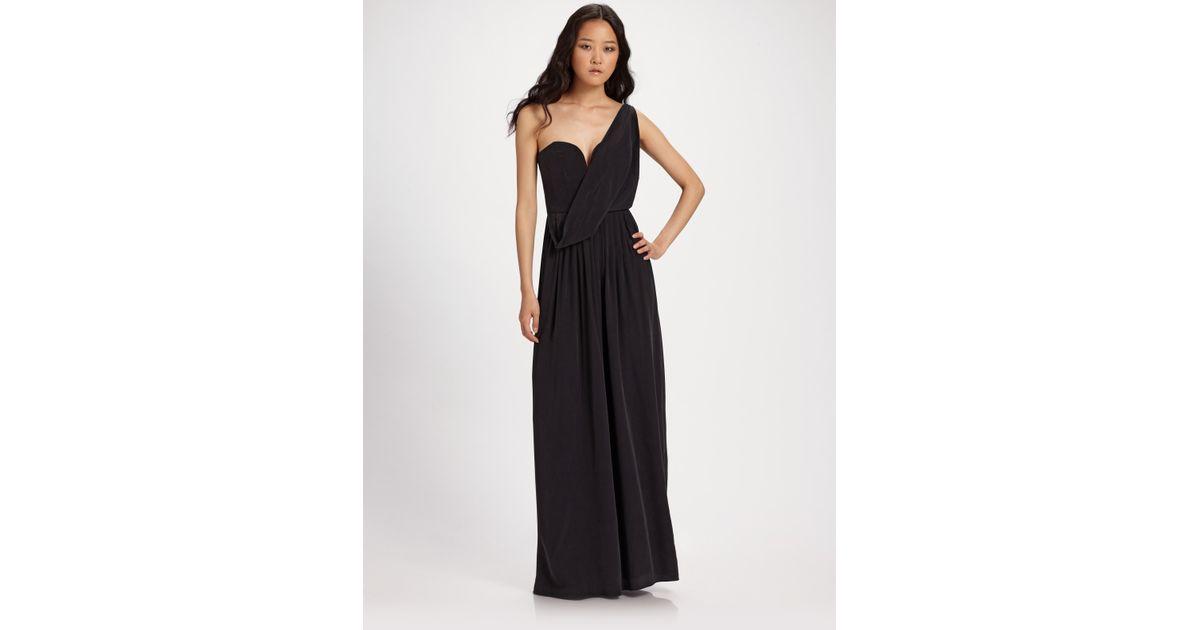 7d26a97342a50 Lyst - Zimmermann Ballerina Silk Drape Maxi Dress in Black