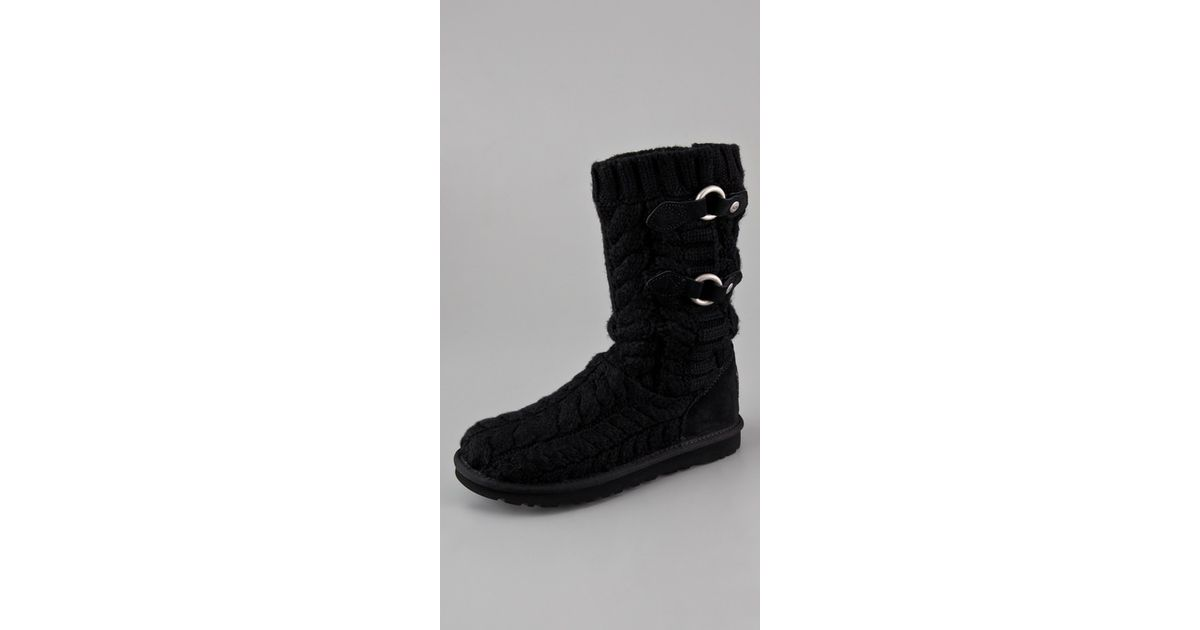 541d53737f5 UGG Black Tularosa Route Cable Knit Boots