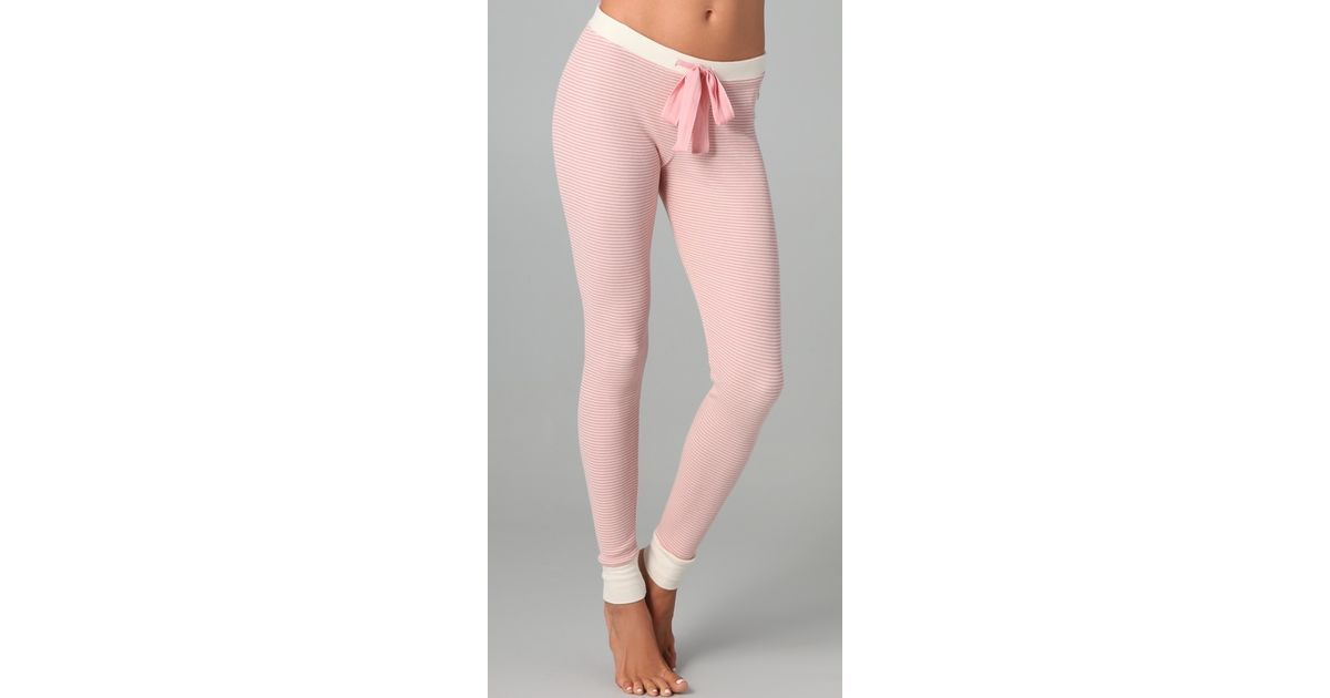 Lyst - Juicy Couture Striped Thermal Leggings in Pink 5f71b6a71