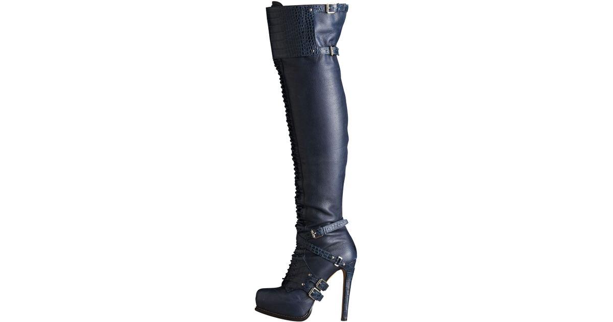 4e204c12 Dior Blue Guetre Over-the-knee Boot