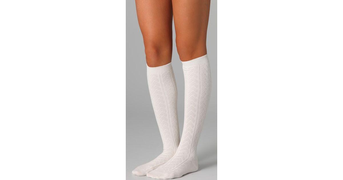 038e29f7843 Falke Striggings Cable Knit Knee High Socks in White - Lyst