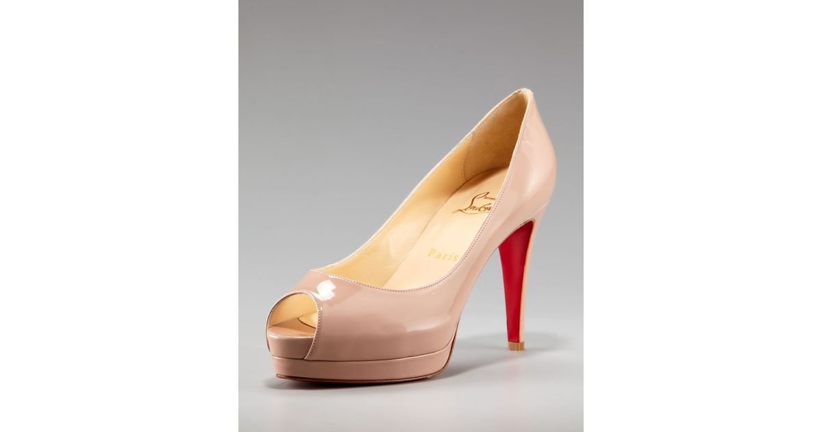 christian louboutin man shoes - Christian louboutin Altadama Patent Peep-toe Pump in Beige | Lyst