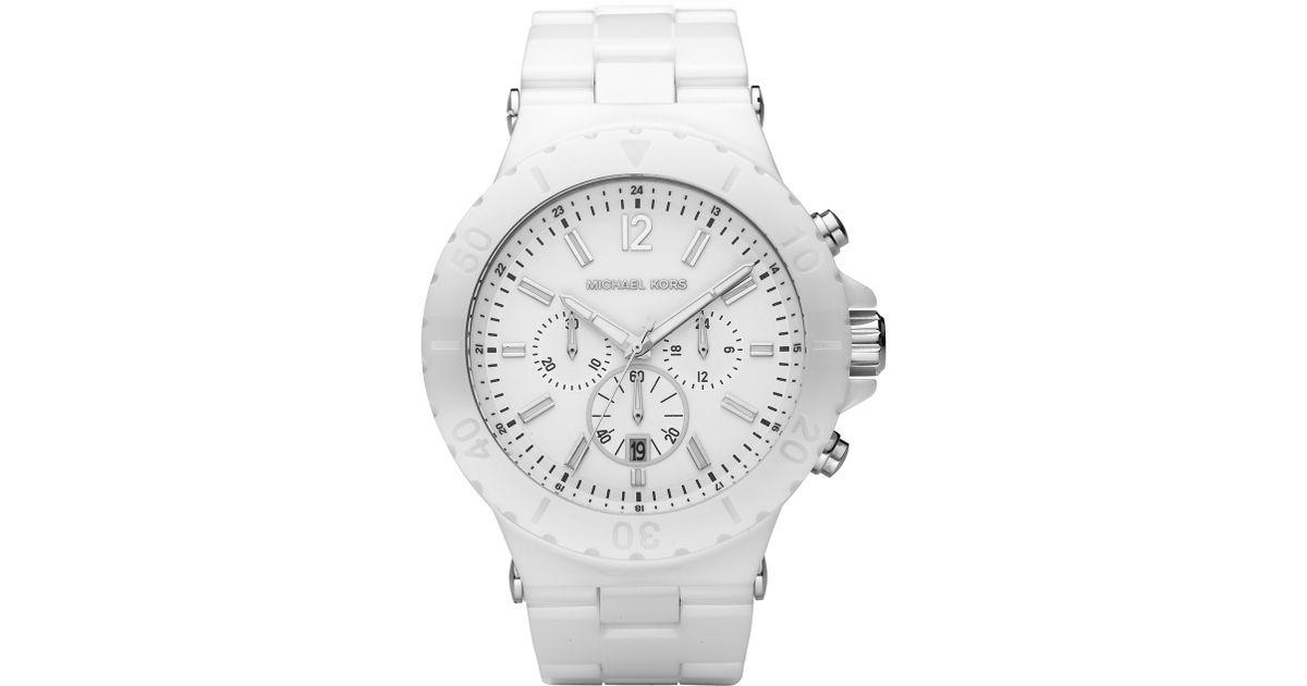 17b9aa1b7 Michael Kors White Ceramic Chronograph Watch In For Men Lyst. Michael Kors  Las Runway Black Ceramic Chronograph ...