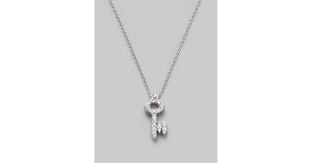 Lyst roberto coin tiny treasures diamond 18k white gold key lyst roberto coin tiny treasures diamond 18k white gold key pendant necklace in white aloadofball Images