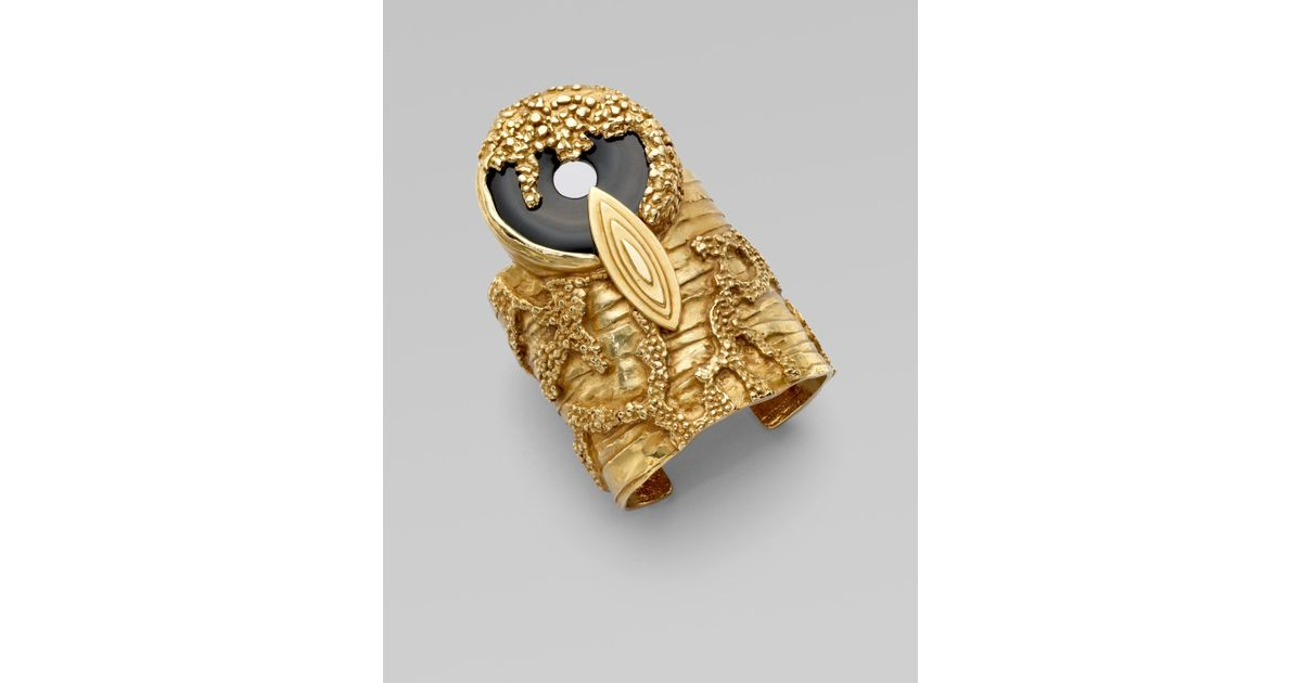 26d4502186d Lyst - Saint Laurent Onyx Cuff Bracelet in Metallic
