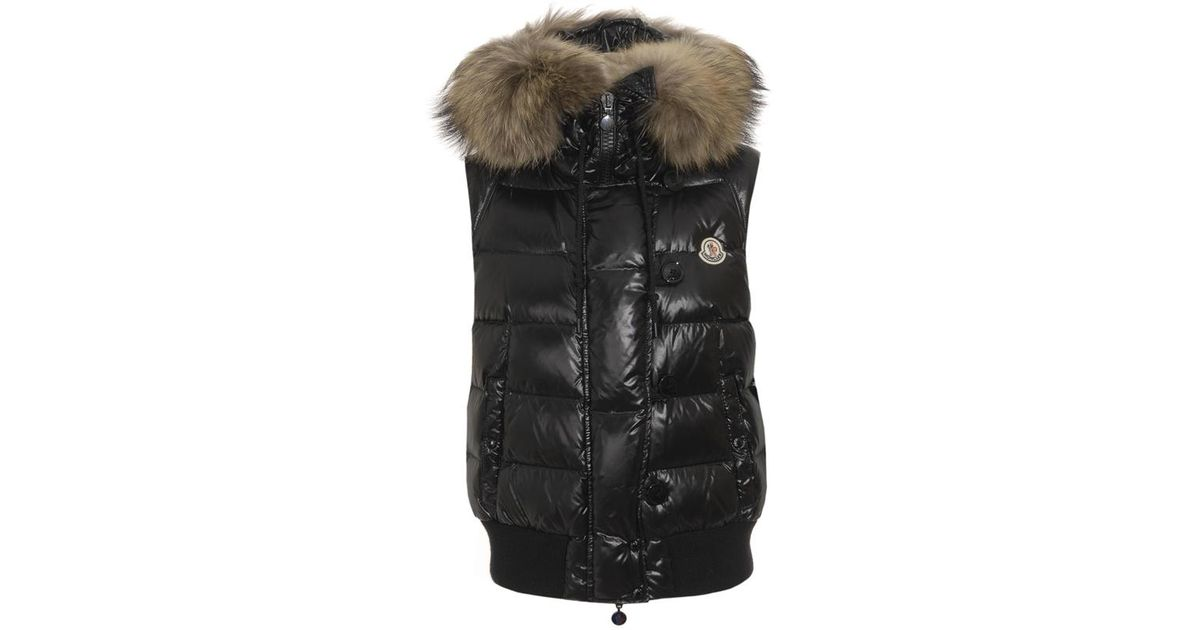 d170ce9ec Moncler Black Tarn Quilted Gilet with Racoon Fur Trimmed Hood