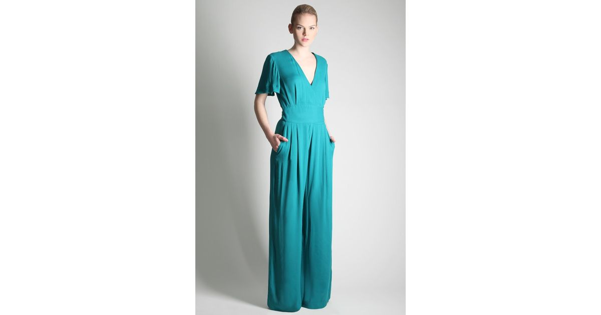 3564dffc667 French Connection Apollo Crepe Jumpsuit in Green - Lyst