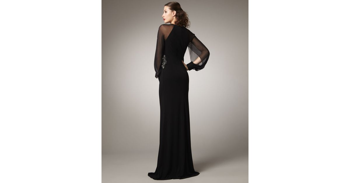 David Meister Black Long-sleeve Illusion Gown