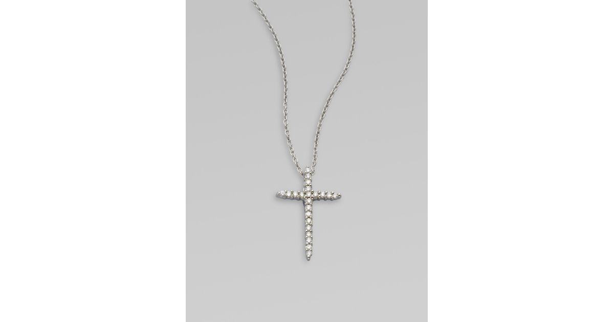 Lyst roberto coin 18k white gold diamond cross pendant necklace in lyst roberto coin 18k white gold diamond cross pendant necklace in metallic aloadofball Gallery