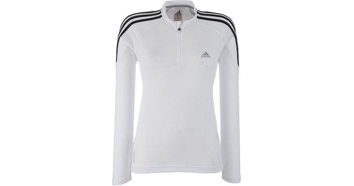 Adidas risposta a maniche lunghe metà zip top bianco in bianco lyst