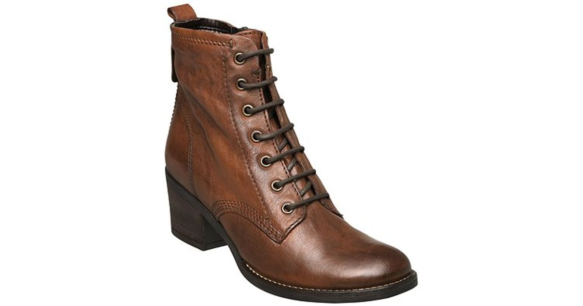 Dune Charlie Lace Up Ankle Boots Tan in