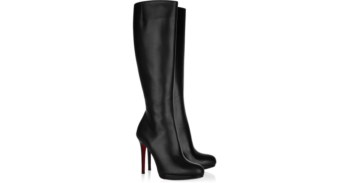 b50bc8b5977f Lyst - Christian Louboutin New Simple Botta 120 Leather Knee Boots in Black