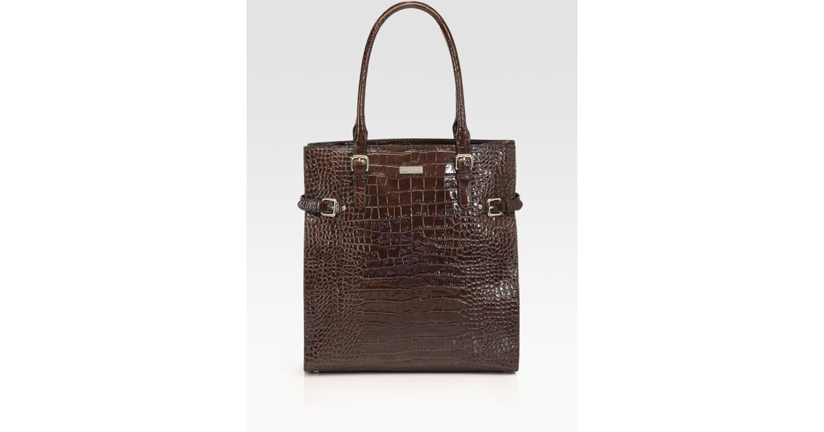 Lyst Kate Spade New York Jasper Croc Embossed Leather Tote Bag In Brown