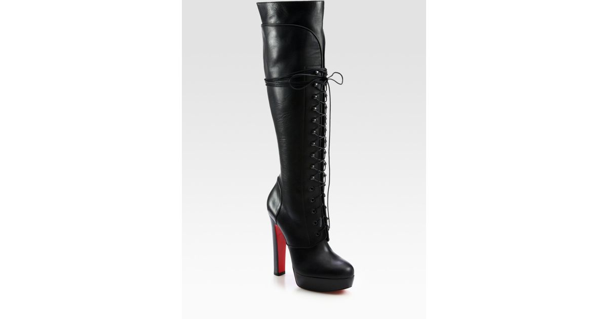 98da12f5dd8c Lyst - Christian Louboutin Nardja Leather Lace-up Over-the-knee Boots in  Black