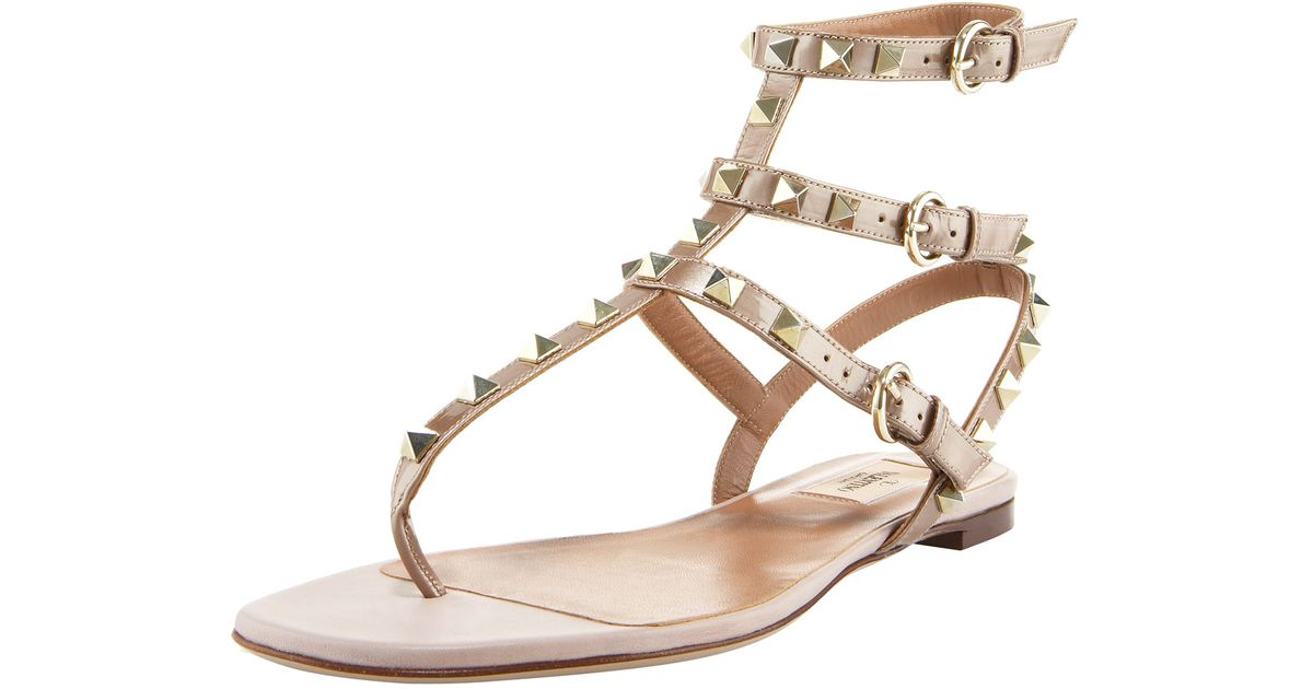 68ee20fa7c70 Lyst - Valentino Rockstud Gladiator Sandal in Pink