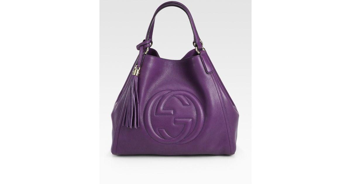 Lyst - Gucci Soho Medium Shoulder Bag in Purple e2d22dd0890