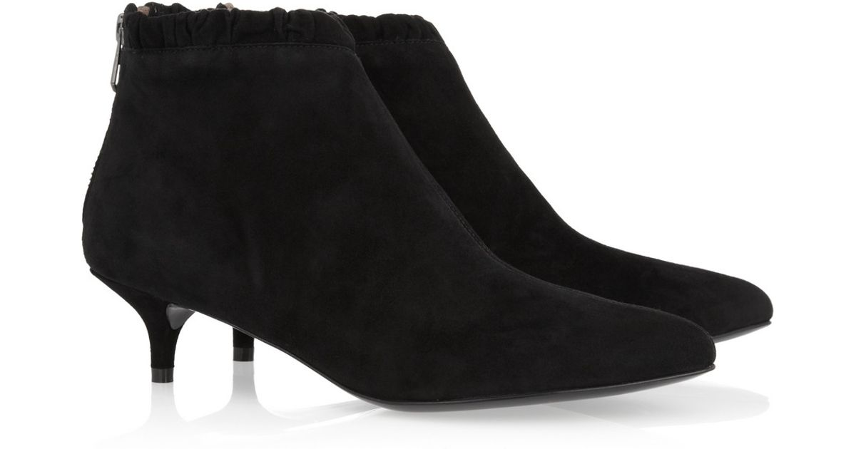 3ad71c3ea Sigerson Morrison Suede Kitten Heel Ankle Boots in Black - Lyst