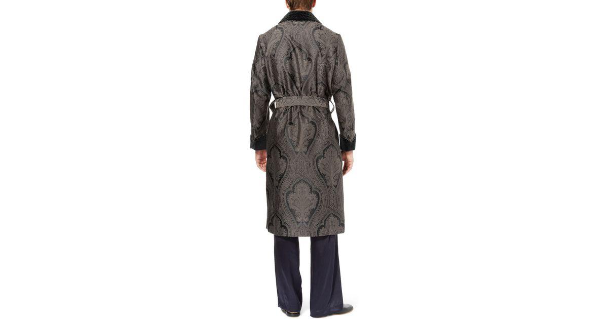 Turnbull & Asser Woven Paisley Dressing Gown in Black for Men - Lyst