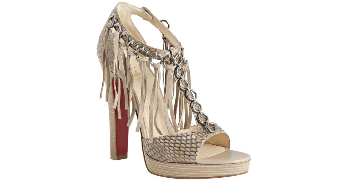 1a373e72b75a ... wholesale lyst christian louboutin rope cobra snakeskin tina on stage  fringed sandals c83b1 02dfe