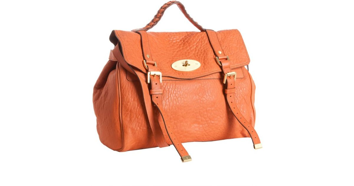 d7f7940b513b ... coupon code for lyst mulberry pumpkin leather alexa oversized satchel  in orange fd45d 8f522