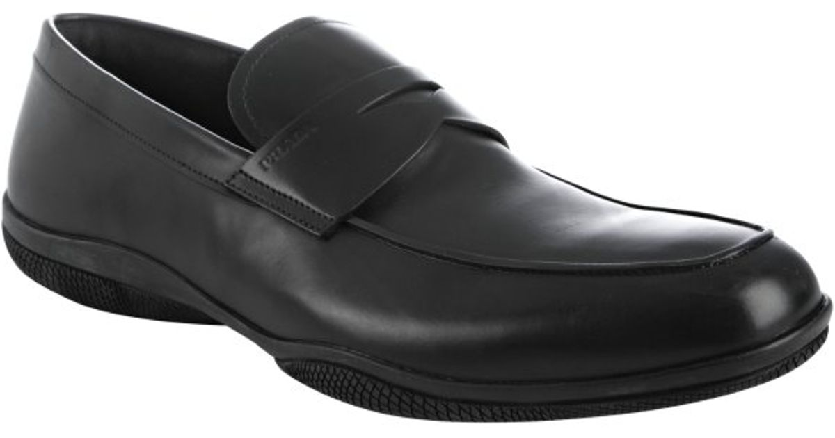 Lyst - Prada Sport Black Leather Penny Loafers in Black ...