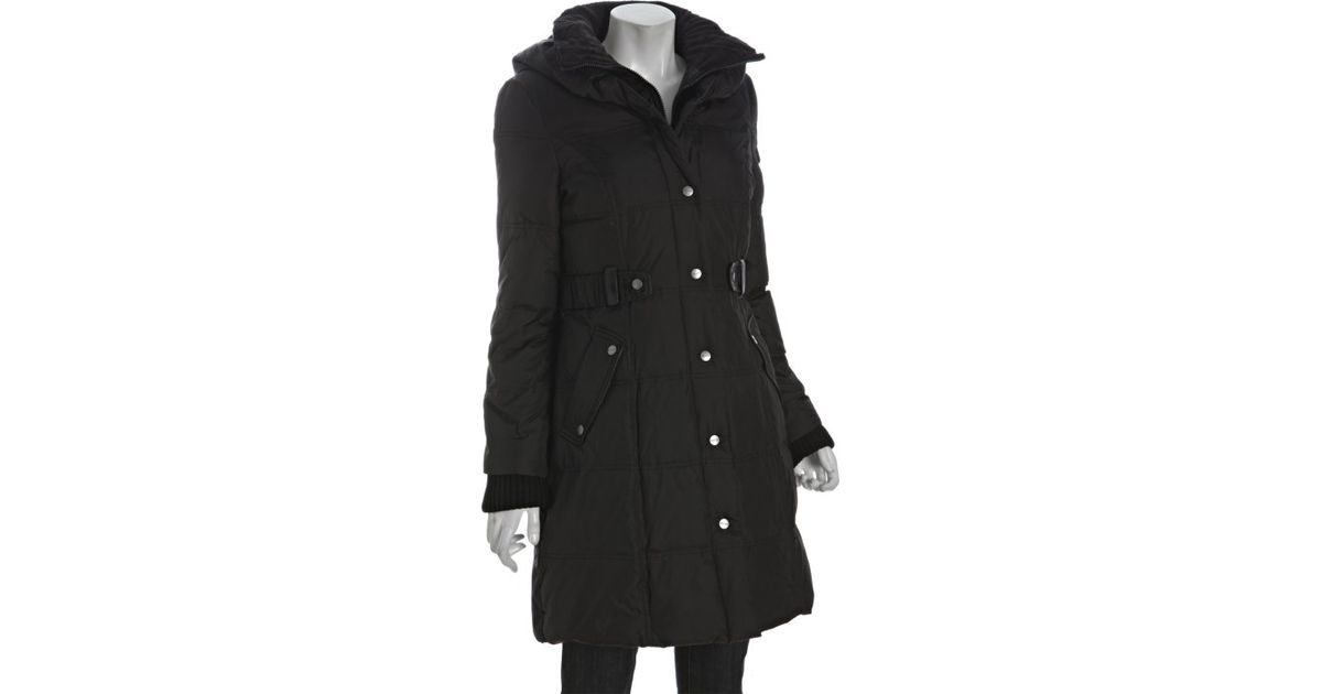Dkny Black Quilted Pillow Collar Belted Down Coat In Black