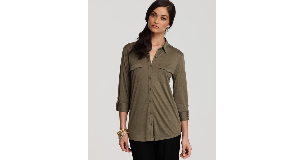 21bfb0f40d6 Eileen Fisher Long Sleeve Silk Cotton Jersey Button Front Shirt in Green -  Lyst
