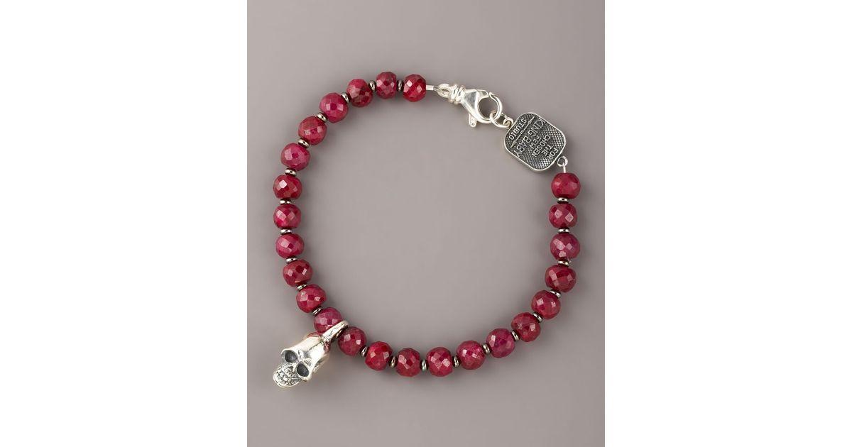 4064effcd6508 King Baby Studio Red 7mm Ruby Bead Bracelet for men
