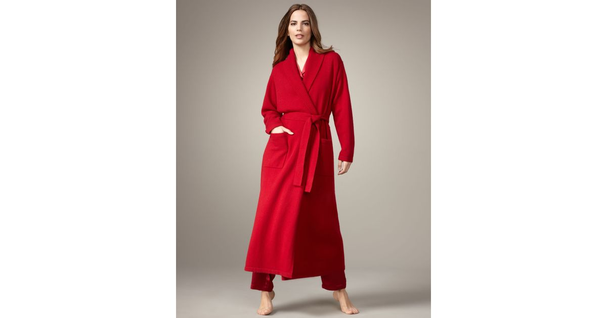 Lyst - Neiman Marcus Long Cashmere Robe, Red in Red