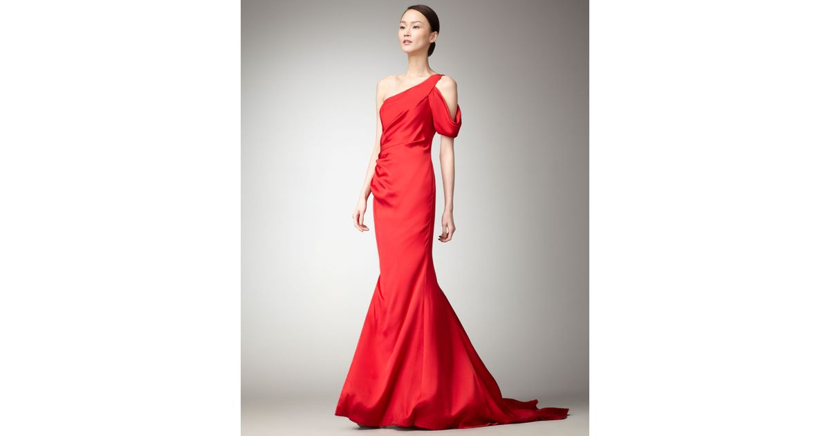 Lyst - Nicole Miller Cold-shoulder Mermaid Gown in Red