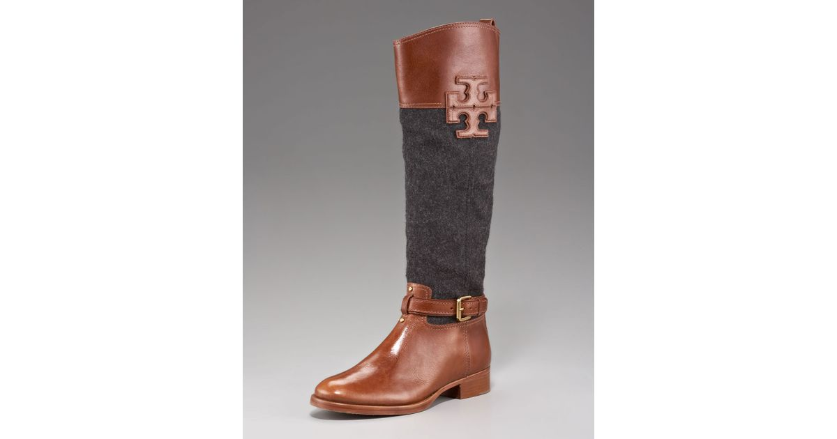 d80d81bafefb Lyst - Tory Burch Blaire Leather flannel Riding Boot in Brown
