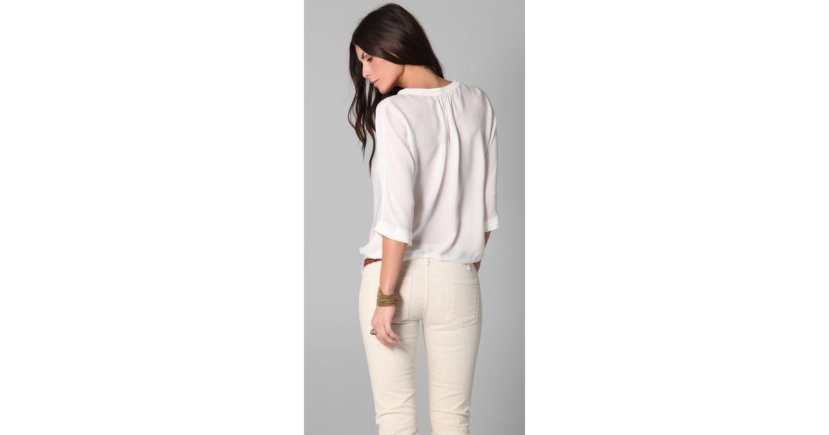3a3111f1066f5c Lyst - Joie Marru Top in White