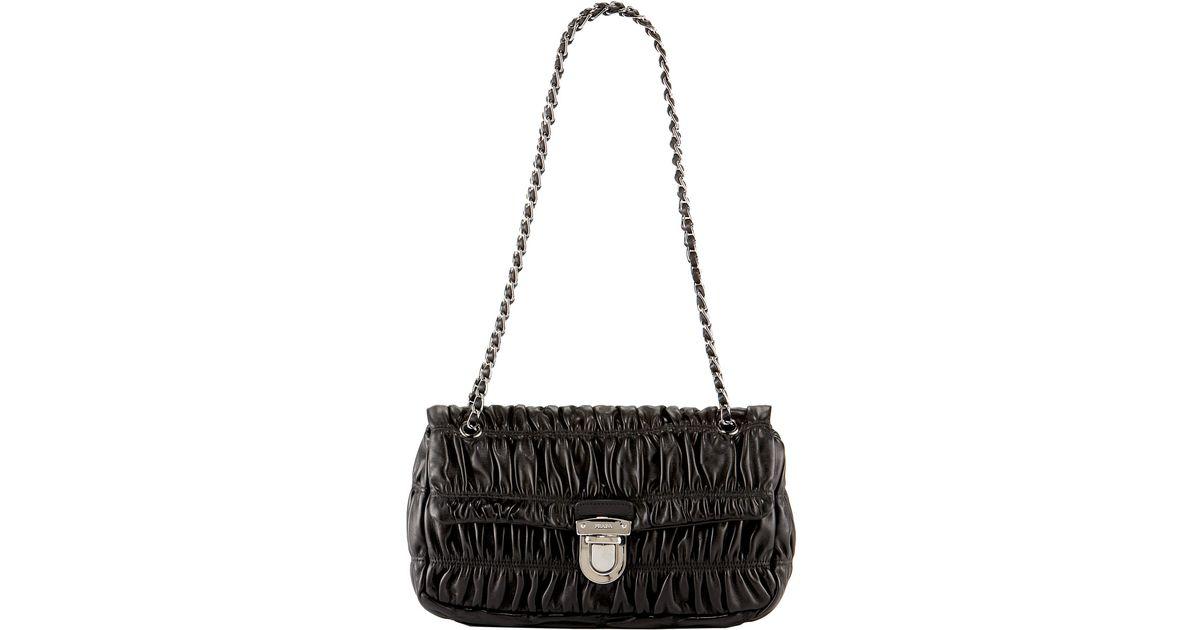 4b309022d824 ... discount lyst prada napa gaufre chain shoulder bag in black 17eeb 4459a