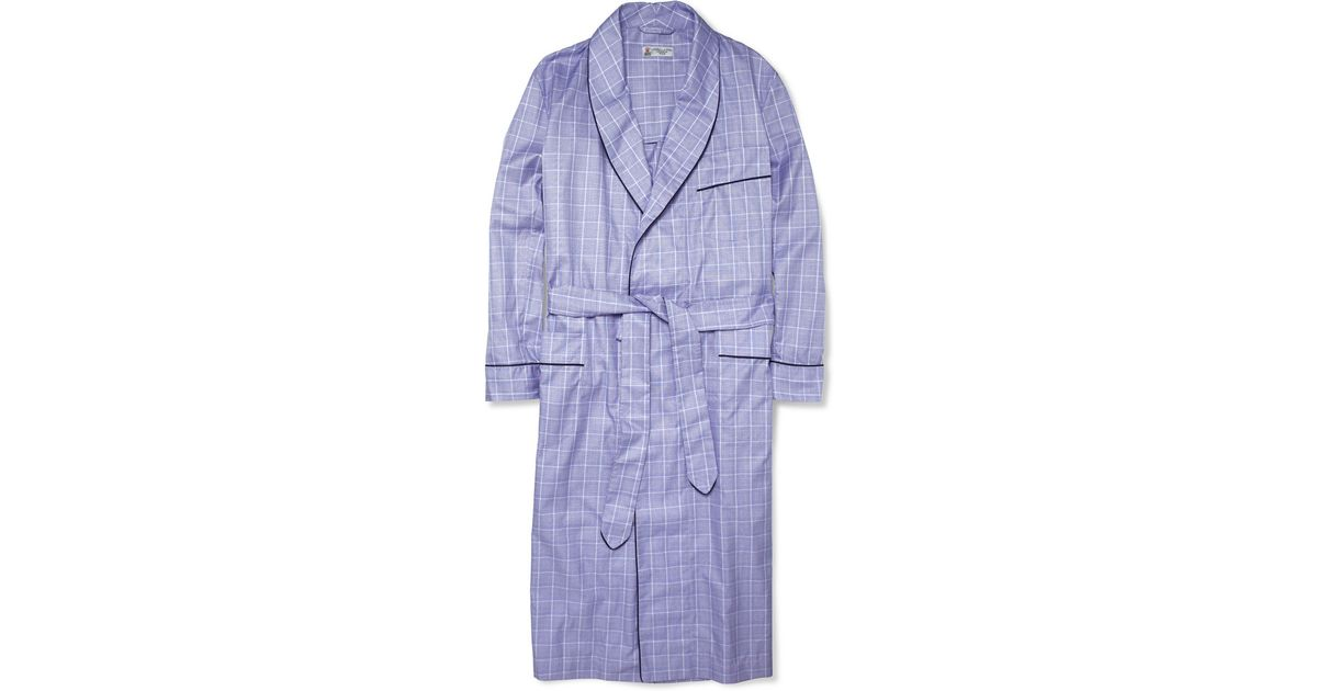 Turnbull & Asser Check Cotton Dressing Gown in Blue for Men - Lyst