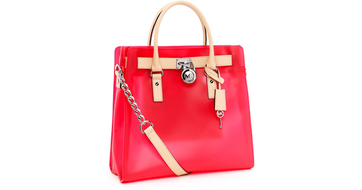 Lyst Michael Kors Large Hamilton Frosted Jelly Tote Neon Pink In