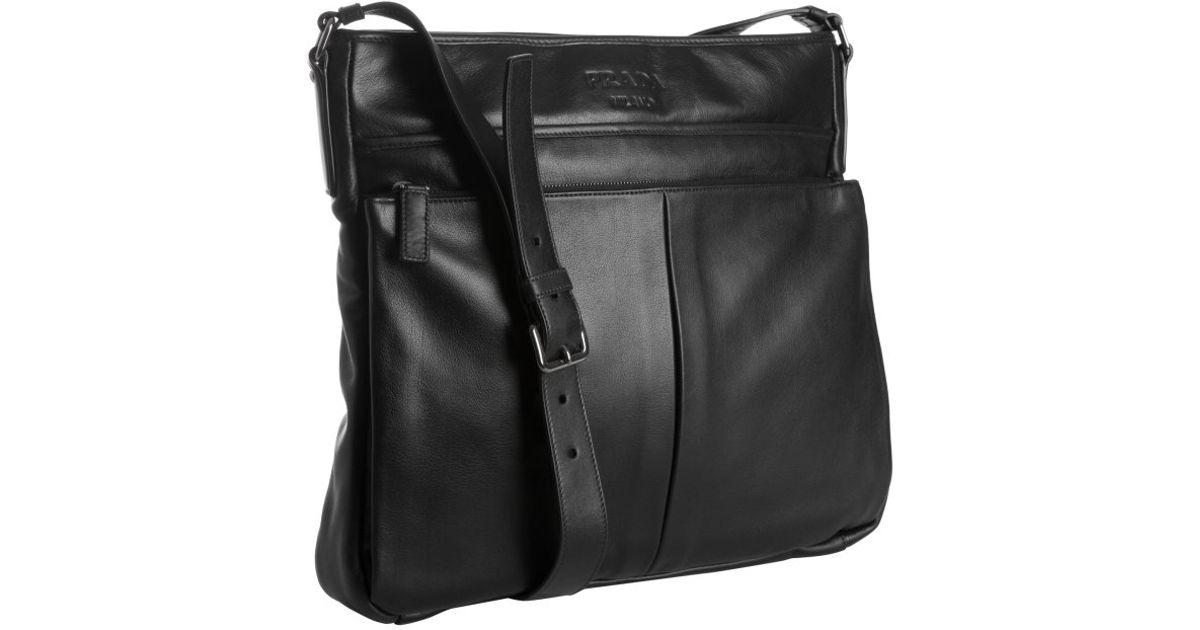 prada saffiano zip wallet - Prada Black Leather Bandoleer Messenger Bag in Black for Men | Lyst