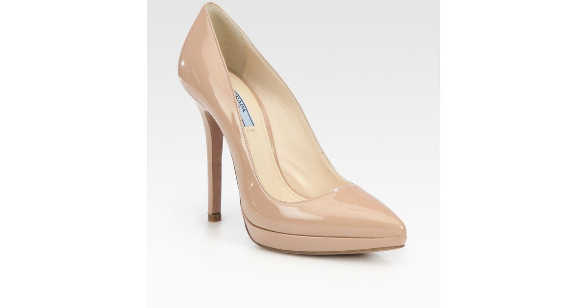 ee18b77e Prada Natural Patent Leather Pointed Toe Platform Pumps