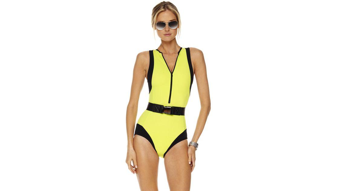 de37aeb255 Lyst - Michael Kors Colorblock Scuba Swimsuit in Green