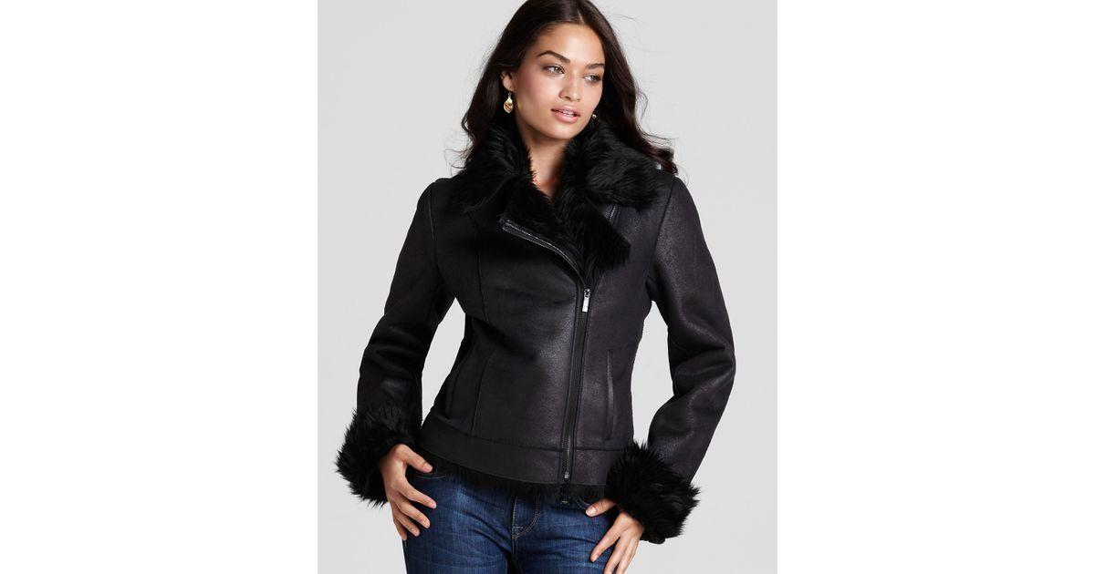 6d68004b3e88 Calvin Klein Faux Shearling Asymmetric Zip Jacket in Black - Lyst