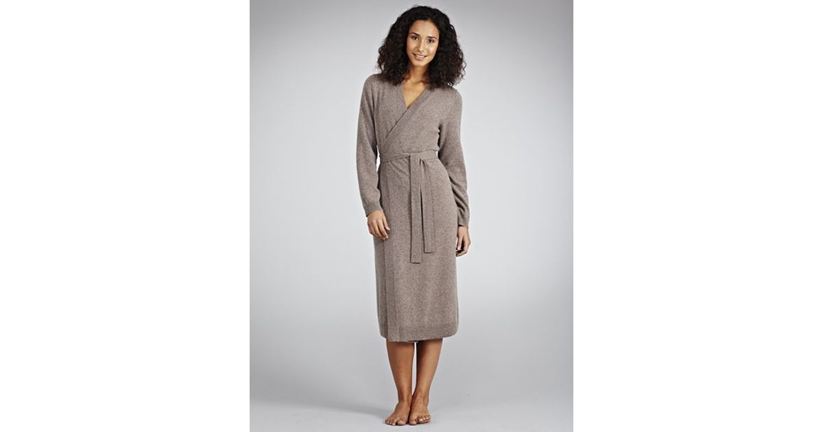 John Lewis Cashmere Dressing Gown in Brown - Lyst