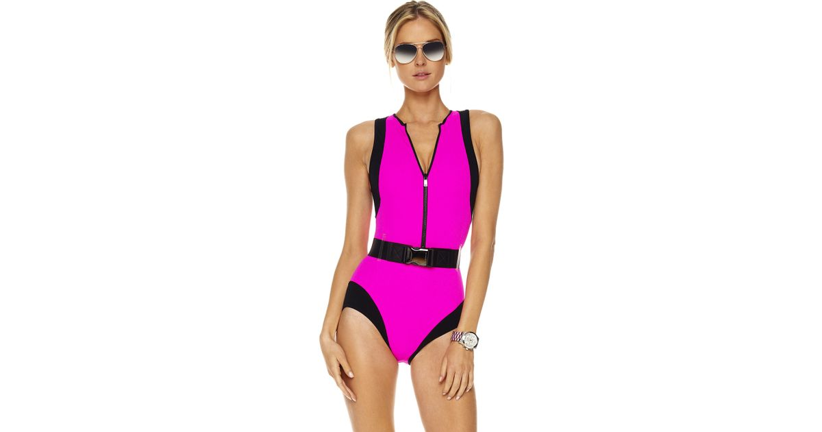 michael kors colorblock scuba swimsuit neon pink in pink lyst. Black Bedroom Furniture Sets. Home Design Ideas