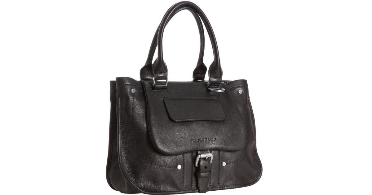 Longchamp Black Leather Balzane Handbag in Black - Lyst ab835af65738b