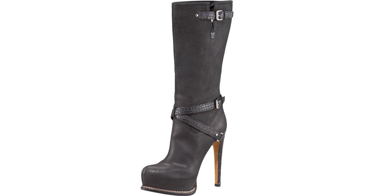 1bfd8291 Dior - Black Guetre Platform Boot - Lyst