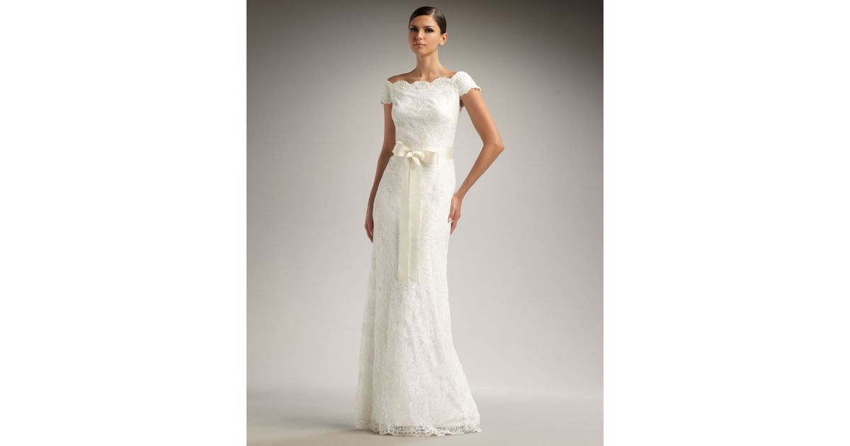 Lyst Tadashi Shoji Off The Shoulder Lace Gown In White
