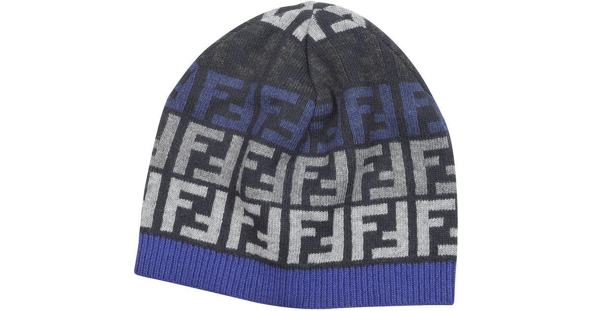 ac00692e Fendi Blue Zucca Logo Skull Cap